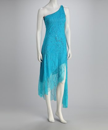 Turquoise Beaded Asymmetrical Dress - Women