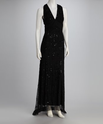 Black Beaded Cross-Back Maxi Dress - Women