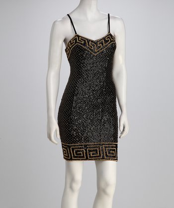 Black Greek Sequin Dress - Women