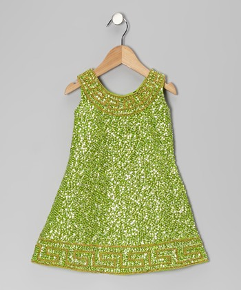 Lime Grecian Sequin Dress - Toddler