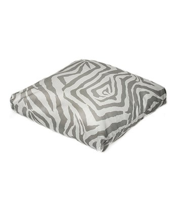 Gray Zebra Indoor/Outdoor Floor Pillow
