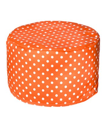 Orange Polka Dot Outdoor Pouf