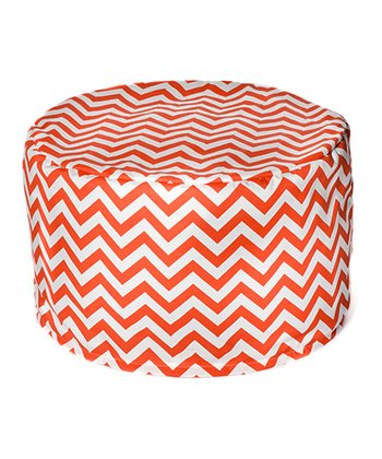 Orange Zigzag Outdoor Pouf