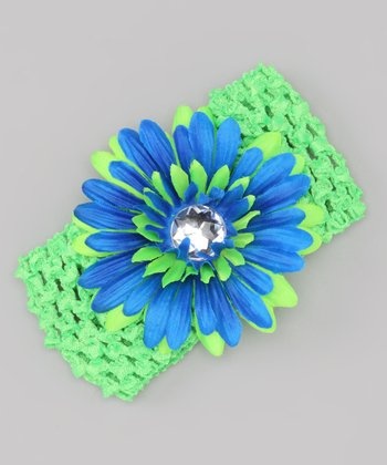 Royal Blue & Green Gem Flower Crocheted Headband & Clip