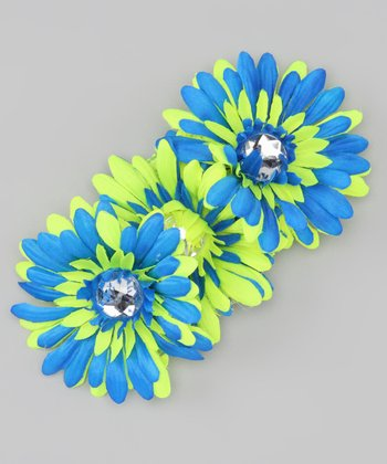 Royal Blue & Neon Yellow Gem Flower Crocheted Headband