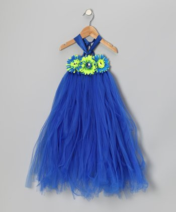 Royal Blue & Neon Daisy Ruffle Dress - Infant, Toddler & Girls