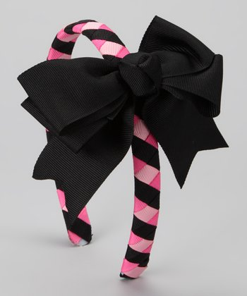 Pink & Black Bow Braided Headband