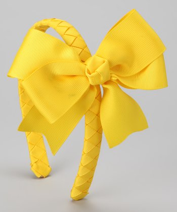 Yellow Braided Bow Headband
