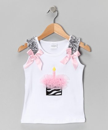 Light Pink Zebra Cupcake Tank - Toddler