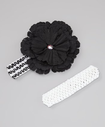White & Black Peony Headband Set