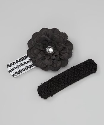 Black & White Dahlia Headband Set