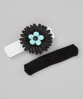 Black & White Designer Daisy Headband Set