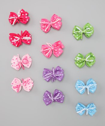 Neon Heart Bow Clip Set