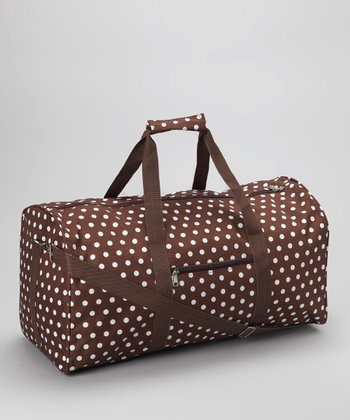 Brown & White Polka Dot Duffel Bag
