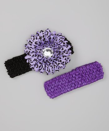 Purple & Black Layered Daisy Headband Set