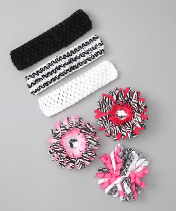 Zebra Korker Bow Headband Set
