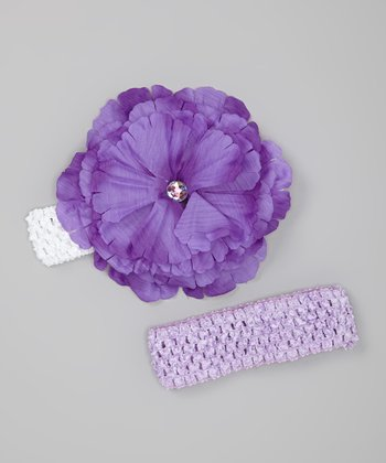 Purple & White Peony Headband Set