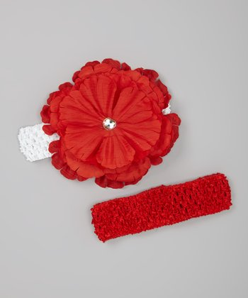 Red & White Peony Headband Set