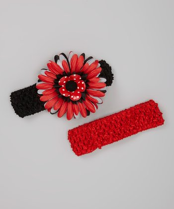 Red & Black Layered Daisy Headband Set