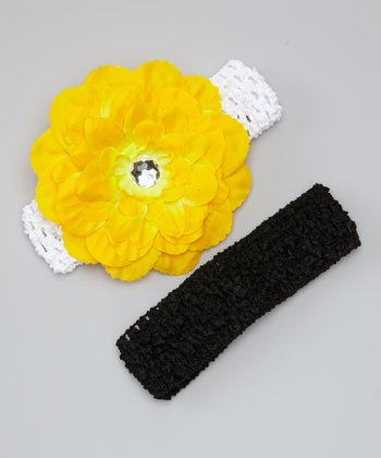 Yellow & Black Dahlia Headband Set