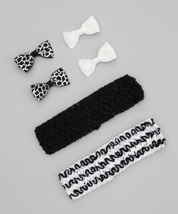 Black & White Stripe Headband Set