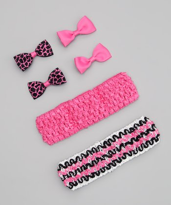 Pink & Black Stripe Headband Set