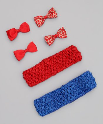 Red Giraffe & Blue Headband Set