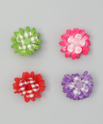 Flower Gingham Clip Set