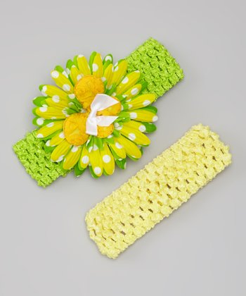 Yellow & Lime Daisy Headband Set