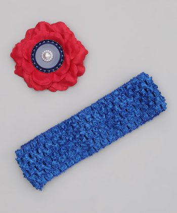 Red & Blue Bottlecap Peony Clip & Headband