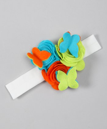 Orange & Turquoise Felt Flower Headband