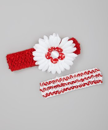 Red & White Layered Daisy Headband Set