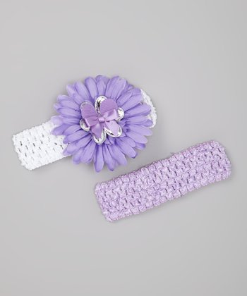 Lavender & White Layered Daisy Headband Set