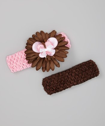 Pink & Brown Layered Daisy Headband Set