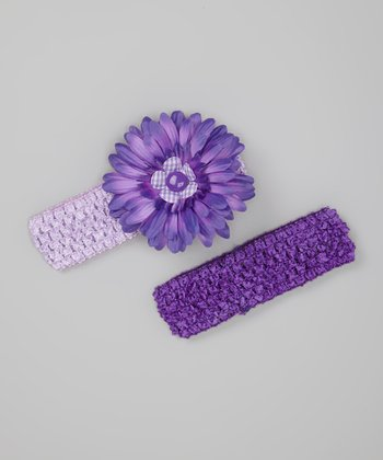 Purple Flower Headband Set