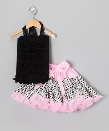 Baby Pink & Black Pettiskirt Set - Infant & Toddler