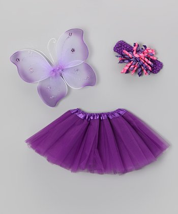 Purple Baby Girl Wings Set - Infant