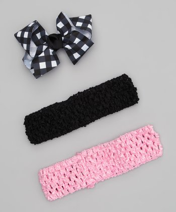 Black & Pink Headband Set