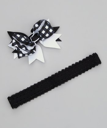 Black Gingham Bow Headband