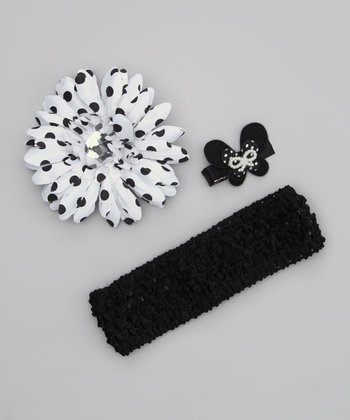 Black Flower Clips & Headband