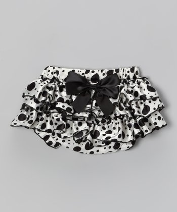 Black Polka Dot Satin Diaper Cover - Infant