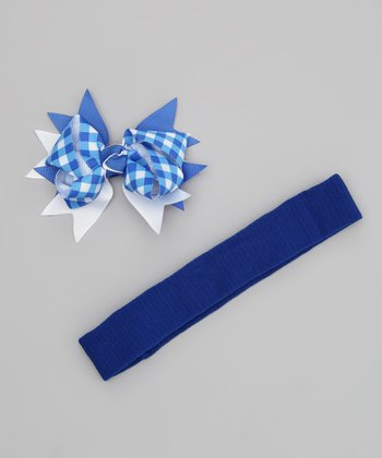 Blue Gingham Bow Headband