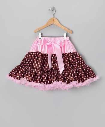 Brown & Pink Polka Dot Pettiskirt - Girls