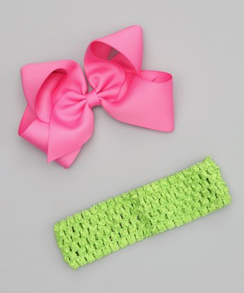 Bubblegum Pink Bow Clip & Lime Headband