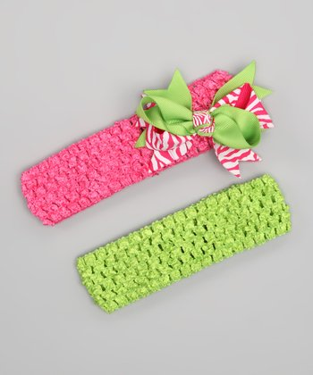 Hot Pink & Lime Double Knot Bow Headband Set