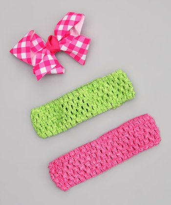 Pink & Green Headband Set