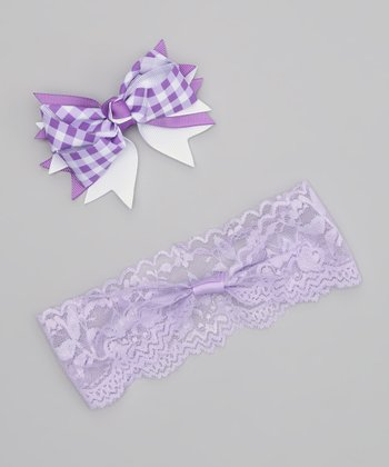 Lavender Gingham Bow Headband