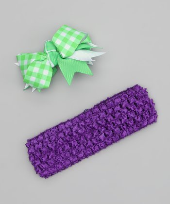 Lime & Purple Bow Gingham Headband