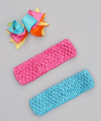 Turquoise & Hot Pink Headband Set
