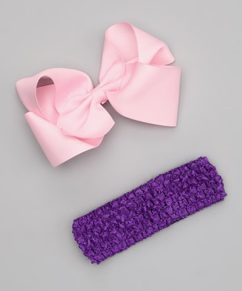 Pink Bow Clip & Purple Headband